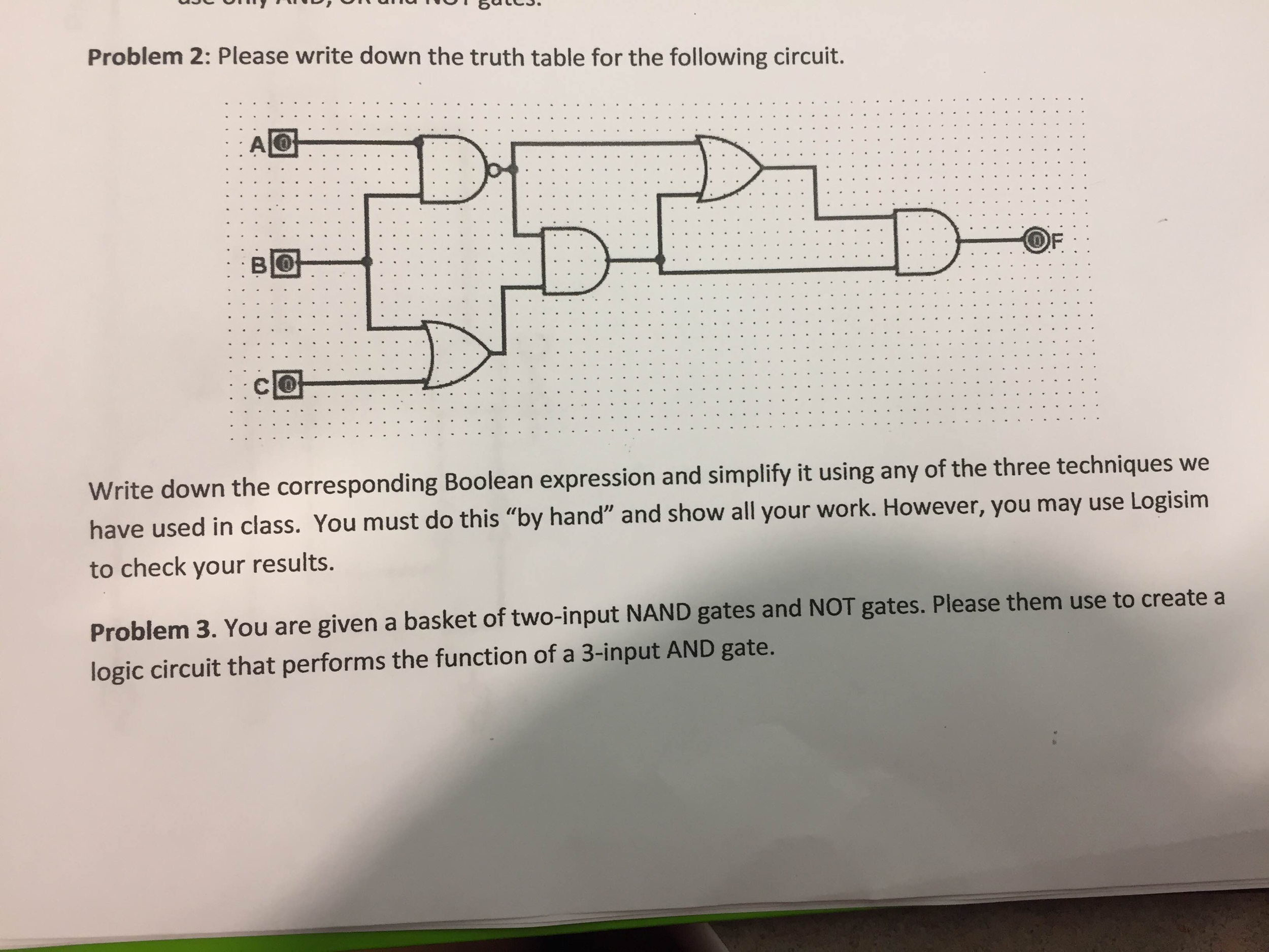 Solved Problem 2 Please Write Down The Truth Table For T Wiring Diagram Is Used To Troubleshoot Problems And Make Sure