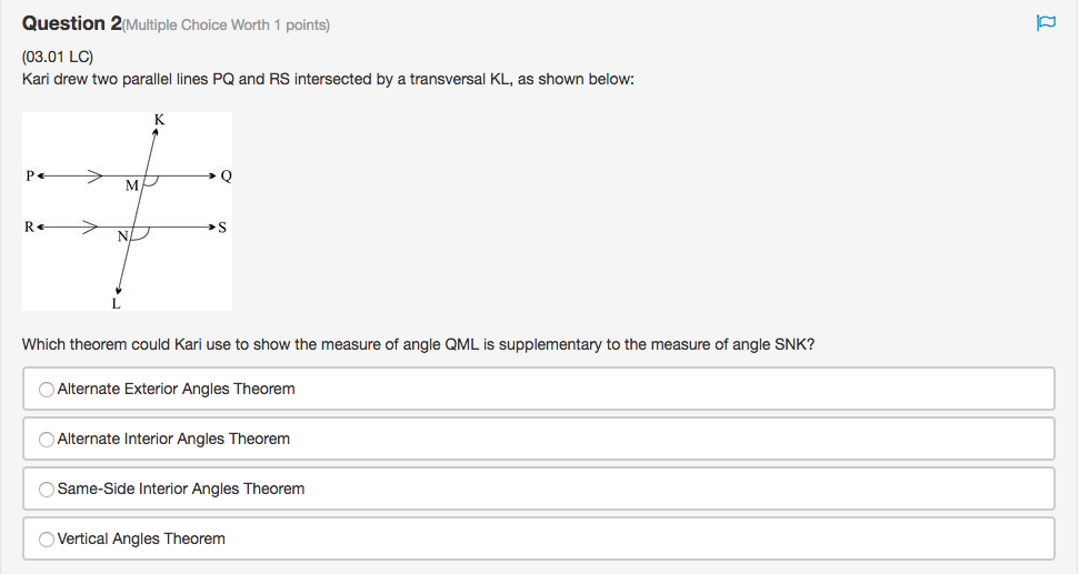 Question 2(Multiple Choice Worth 1 Points) (03.01 LC) Kari Drew Two