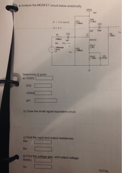 Solved: Analyze The MOSFET Circuit Below Analytically Dete