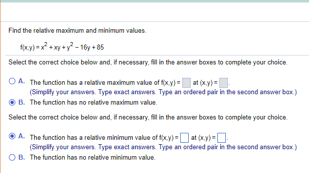 Algebra archive march 31 2018 chegg fky2 xy 16y85 select the correct choice below and if fandeluxe Gallery