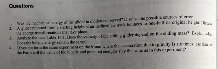an experiment on the motion of a glider mass Method throughout this experiment, a system (glider between springs, assorted pendulums) will be displaced from equilibrium and the period, t, of oscillation will be measured.