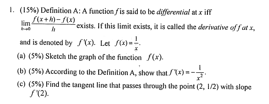 Definition A: A Function F Is Said To Be Different