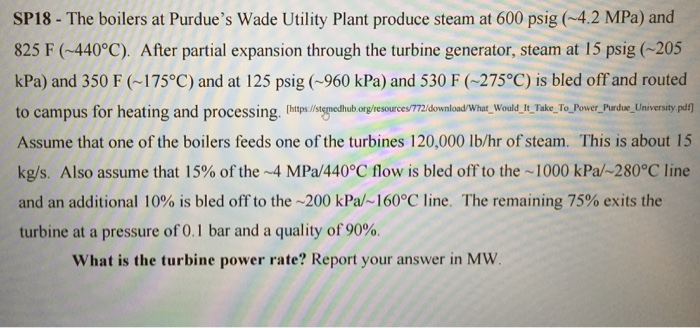 Solved: The Boilers At Purdue\'s Wade Utility Plant Produce ...