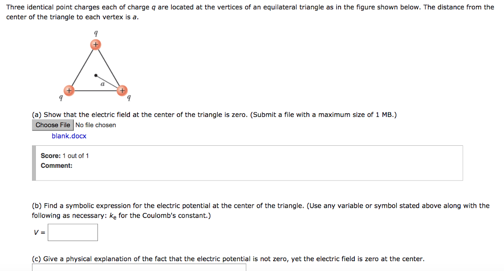 Solved Three Identical Point Charges Each Of Charge Q Are