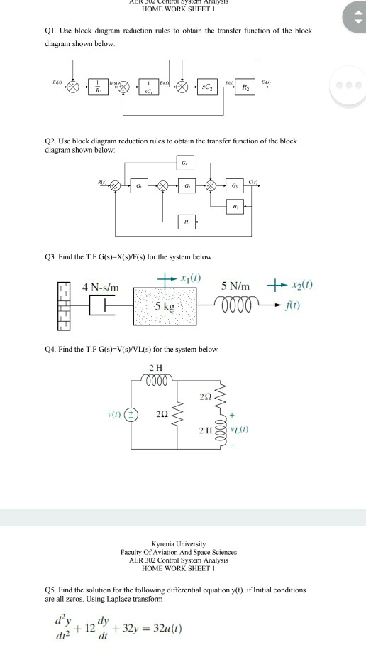 Solved home work sheet q use block diagram reduction rul home work sheet q use block diagram reduction rules to obtain the transfer function of control system problems publicscrutiny Image collections