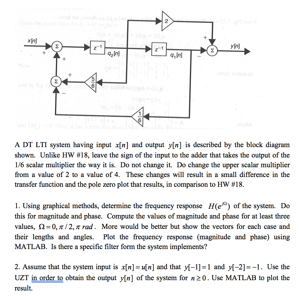 Question: A DT LTI system having input x[n] and output y[n] is described by  the block diagram shown. Unlike.
