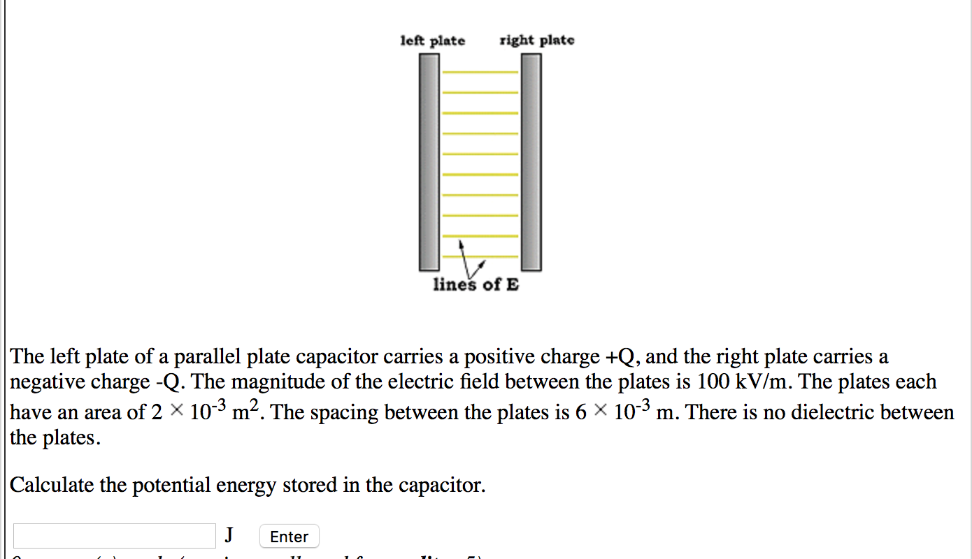 The left plate of a parallel plate capacitor carri