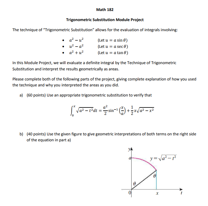 Solved: Math 182 Trigonometric Substitution Module Project