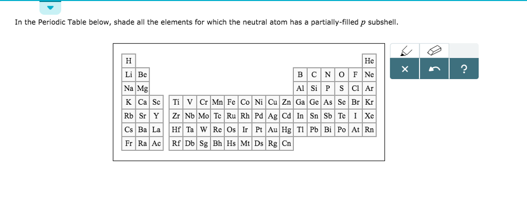 In The Periodic Table Below Shade All The Element Chegg