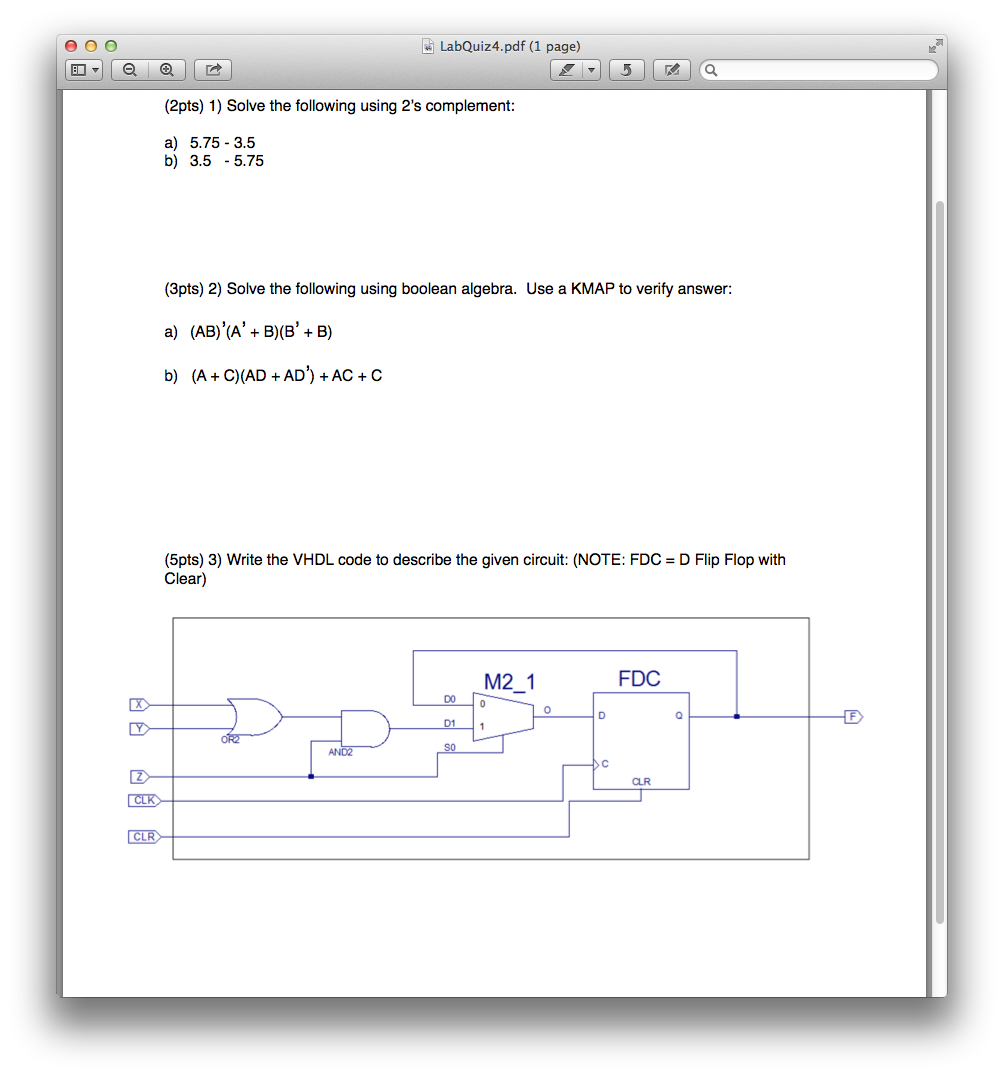Solved Solve The Following Using 2s Complement Th 2 S Circuit Diagram T