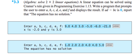 Solved: Java Programming (Algebra: 2 * 2 Linear Equations ...