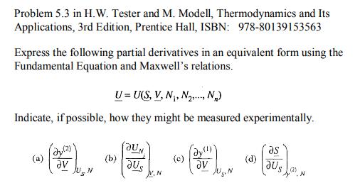 problem 5 3 in h w tester and m modell thermody chegg com rh chegg com