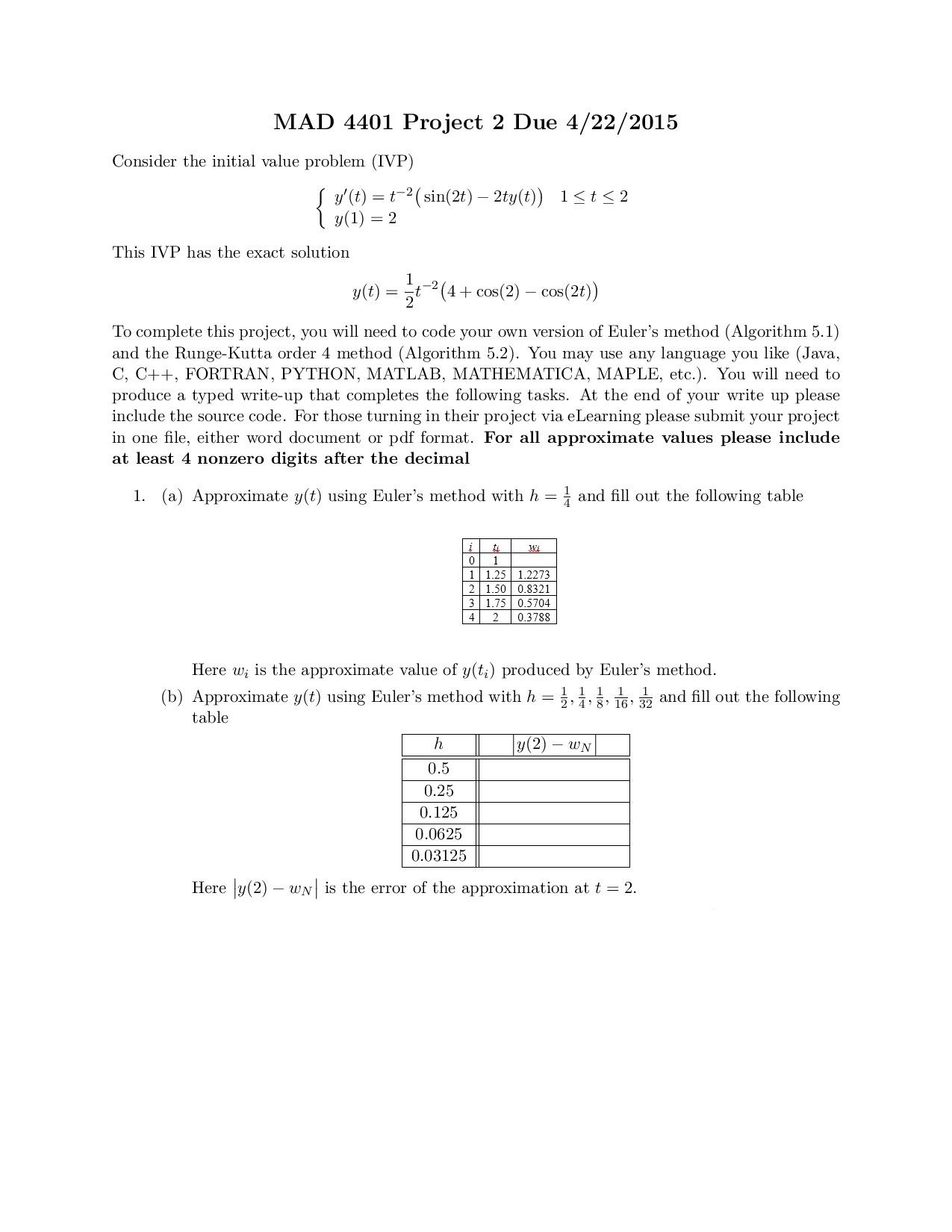 Consider the initial value problem (IVP) This IVP