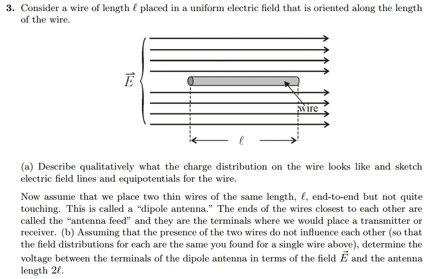 Solved: Consider A Wire Of Length L Placed In A Uniform El ...