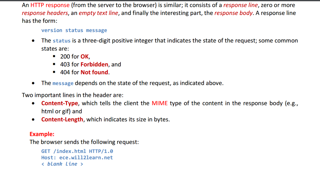 An Http Response From The Server To The Browser Chegg