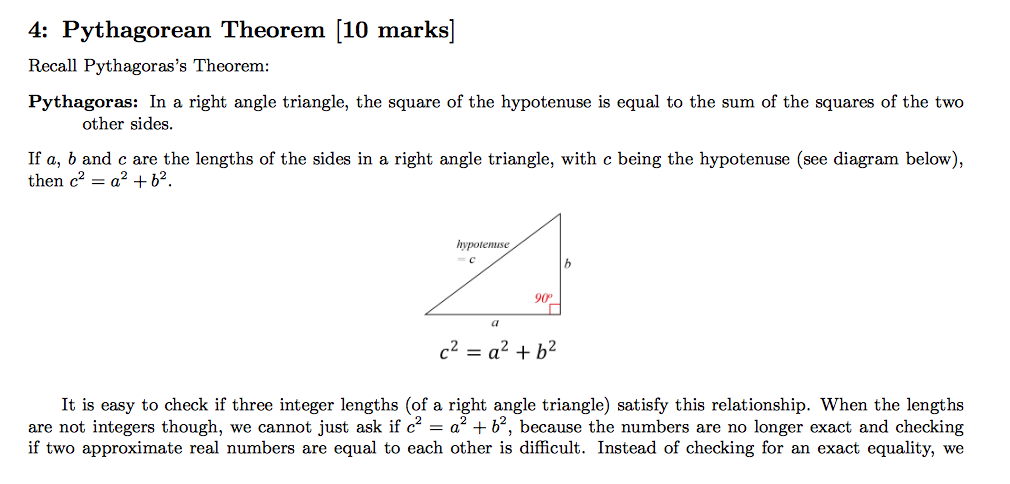 the square of hypotenuse is equal to the sum of the squares of the other two sides knowledge or beli It states that the square of the hypotenuse (the side opposite the right angle) is equal to the sum of the squares of the other two sides the theorem can be written as an equation relating the lengths of the sides a , b and c , often called the pythagorean equation: [1.