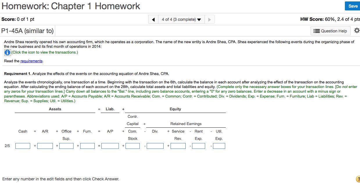 Accounting 1 homework help
