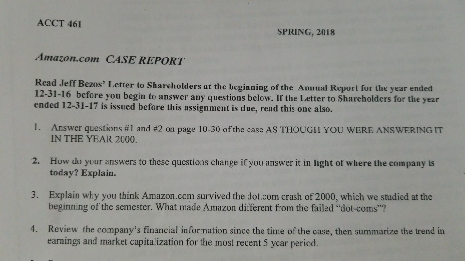 ACCT 461 SPRING 2018 Amazon CASE REPORT Read