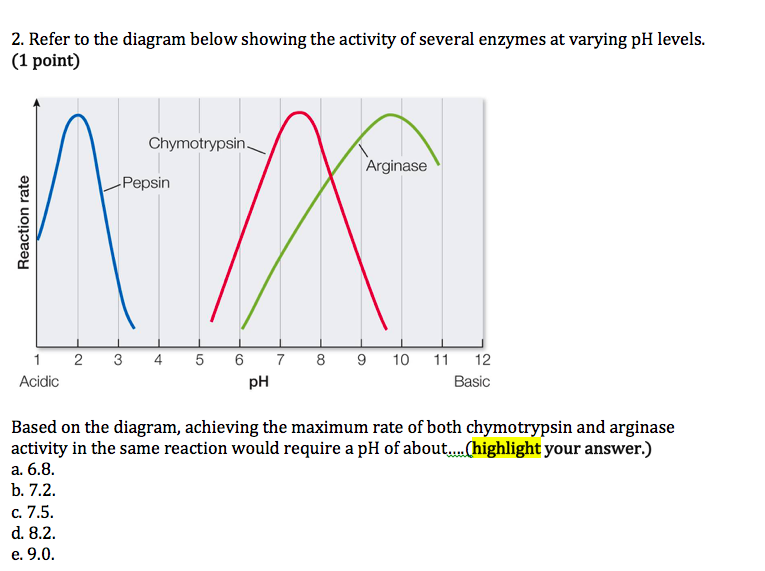 refer to the diagram below showing the activity of several enzymes at  varying ph