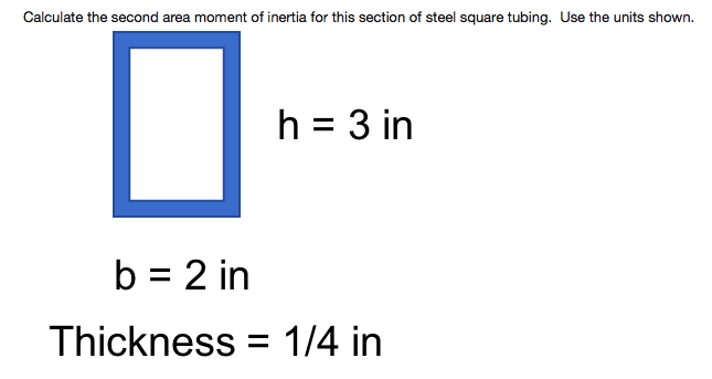 Solved: Calculate The Second Area Moment Of Inertia For Th