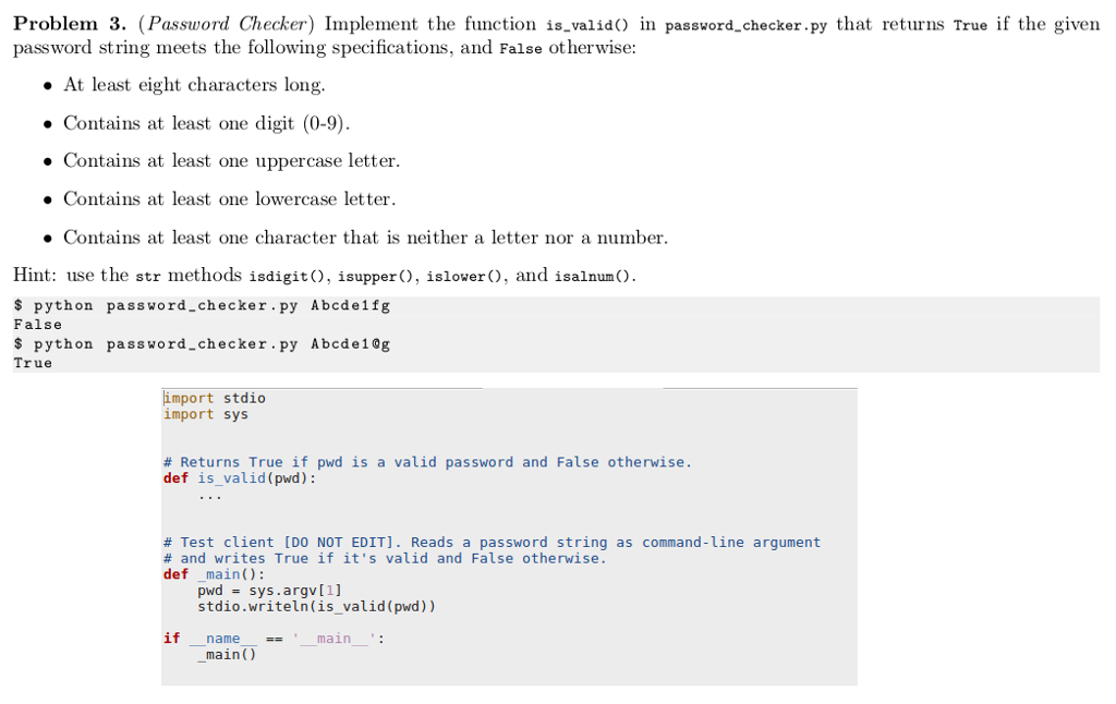 Solved: Implement The Function Is Valid() In Password chec