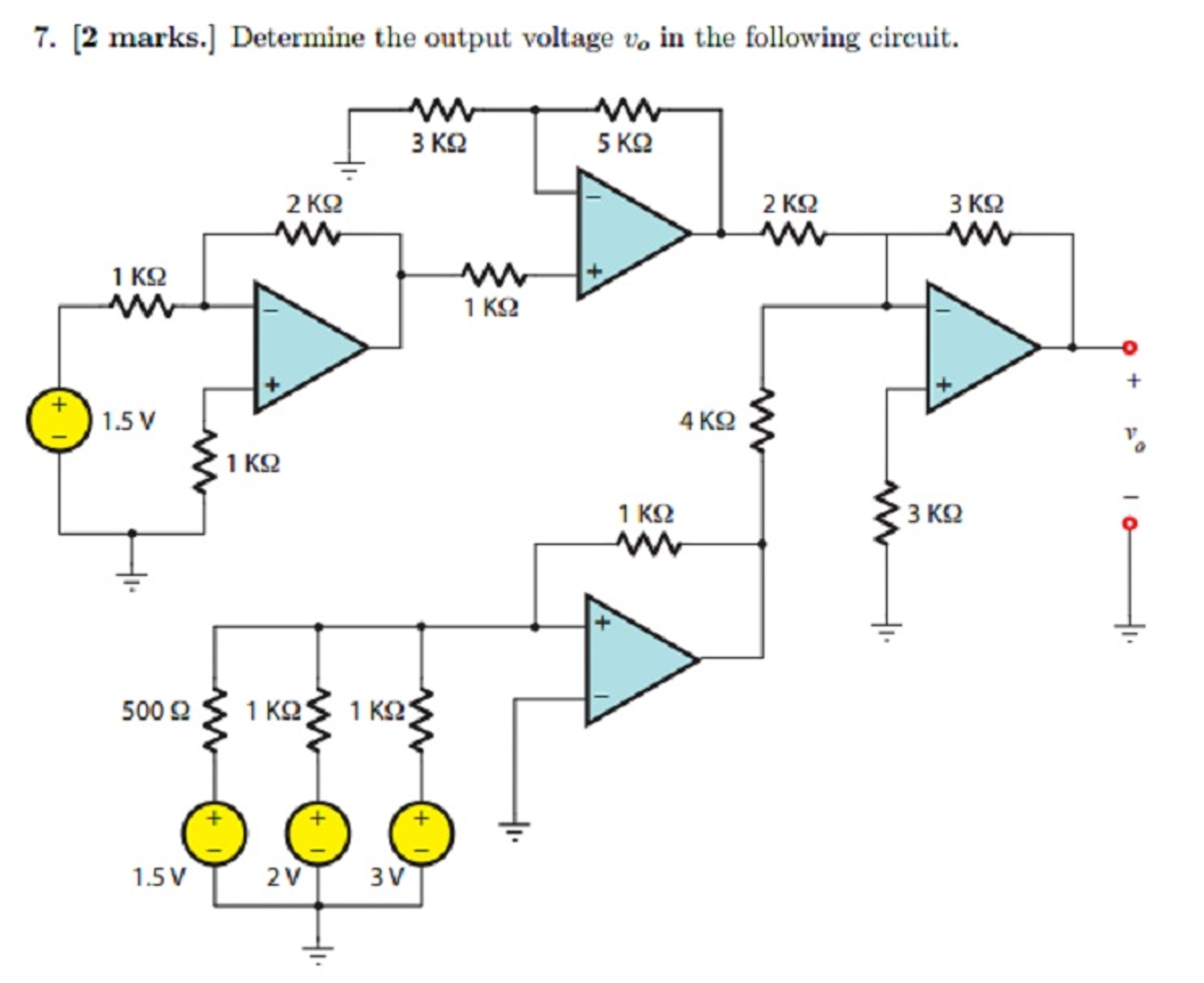Determine the output voltage v in the following circuit 5