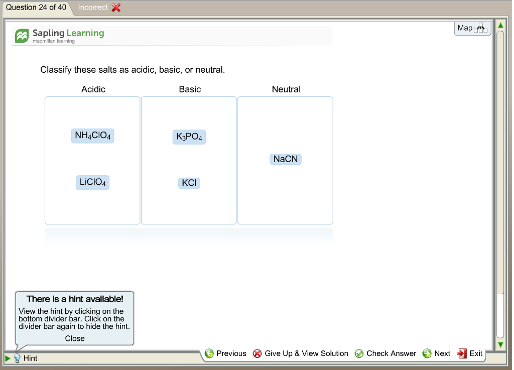 Solved: Question 24 Of 40 Incorrect Map A Sapling Learning ...