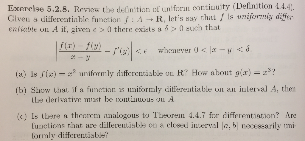 Review The Definition Of Uniform Continuity 444