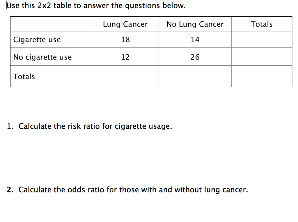 Question: Use This 2x2 Table To Answer The Questions Below. Lung Cancer 18  12 No Lung Cancer 14 26 Totals C..