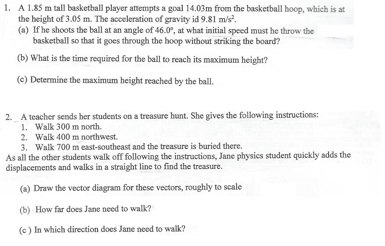 Solved A 185 M Tall Basketball Player Attempts Goal 14 Hoop Dimensions Diagram