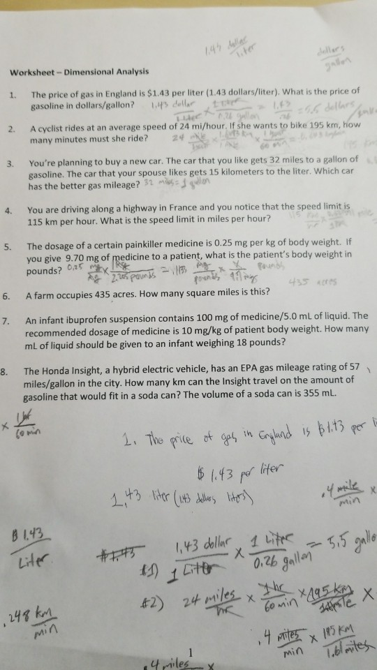 Solved Worksheet Dimensional Analysis 1 The Price Of Gas