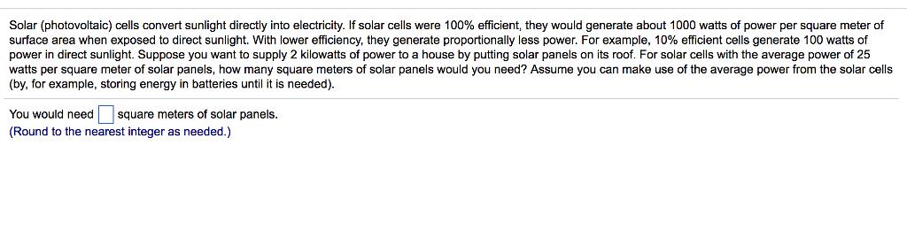 Solved: Solar (photovoltaic) Cells Convert Sunlight Direct