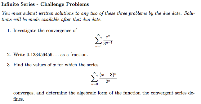 Solved: Infinite Series - Challenge Problems You Must Subm