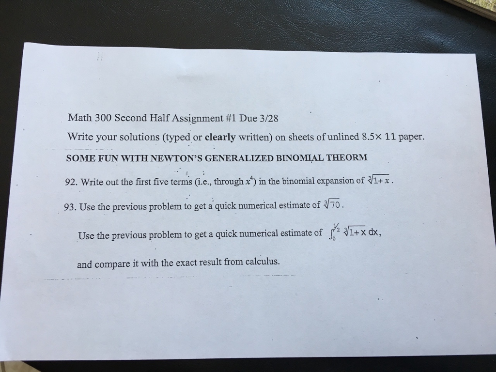 Solved: Math 300 Second Half Assignment #1 Due 3/28 Write ...