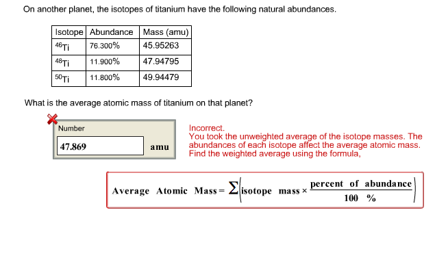 On Another Planet, The Isotopes Of Titanium Have The Following Natural  Abundances. IsotopeAbundance Mass