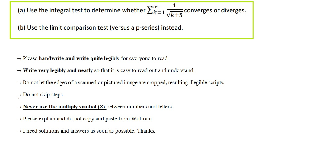 Solved Use The Integral Test To Determine Whether Sigmai