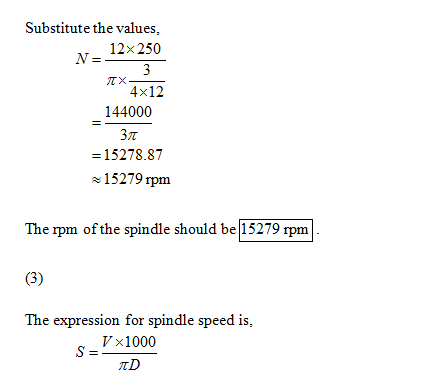 Substitute the values, 12x 250 ㄫ ㄨ ㄧㄧㄧㄧ 4x12 144000 = 15278.87 15279 rpm the spindle should be 15279 The expression for spind