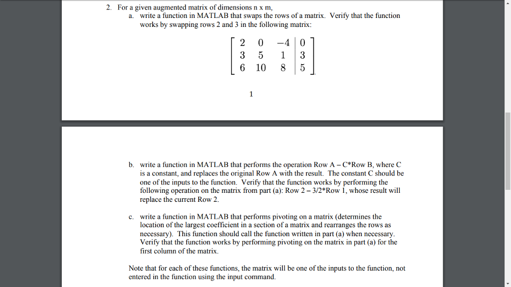 2  For A Given Augmented Matrix Of Dimensions N X