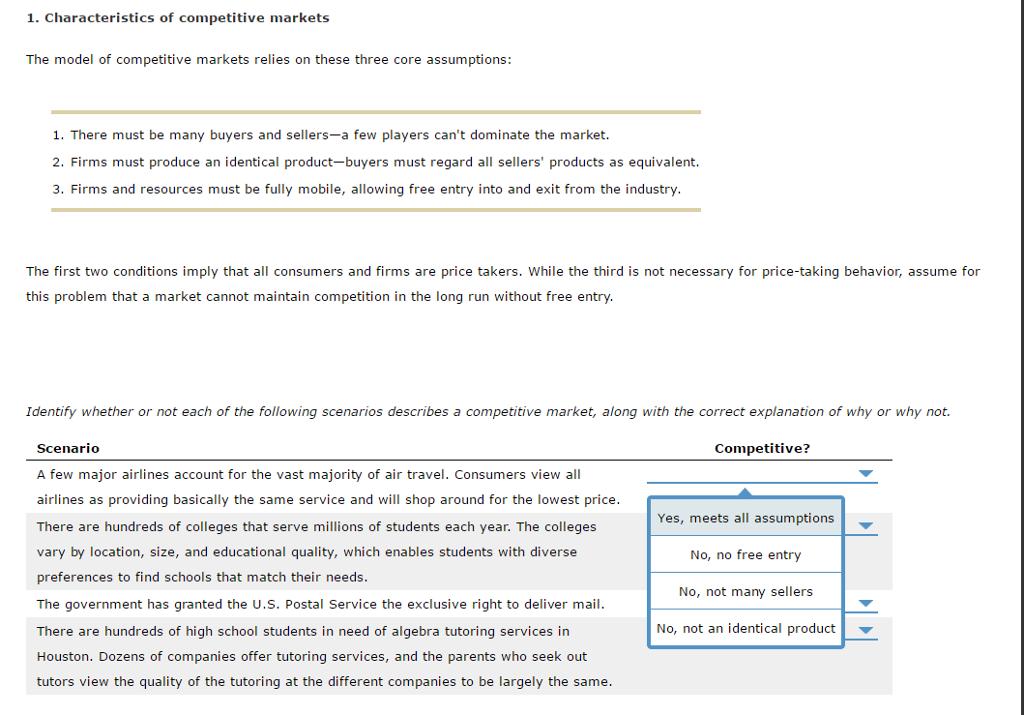 3b6ad7c9da137 1. Characteristics of competitive markets The model of competitive markets  relies on these three core