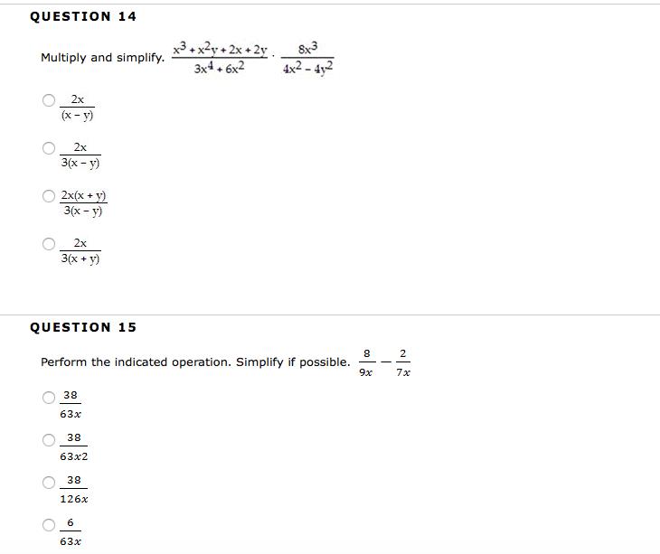 Solved Multiply And Simplify X3 X2 Y 2x 2y3x4