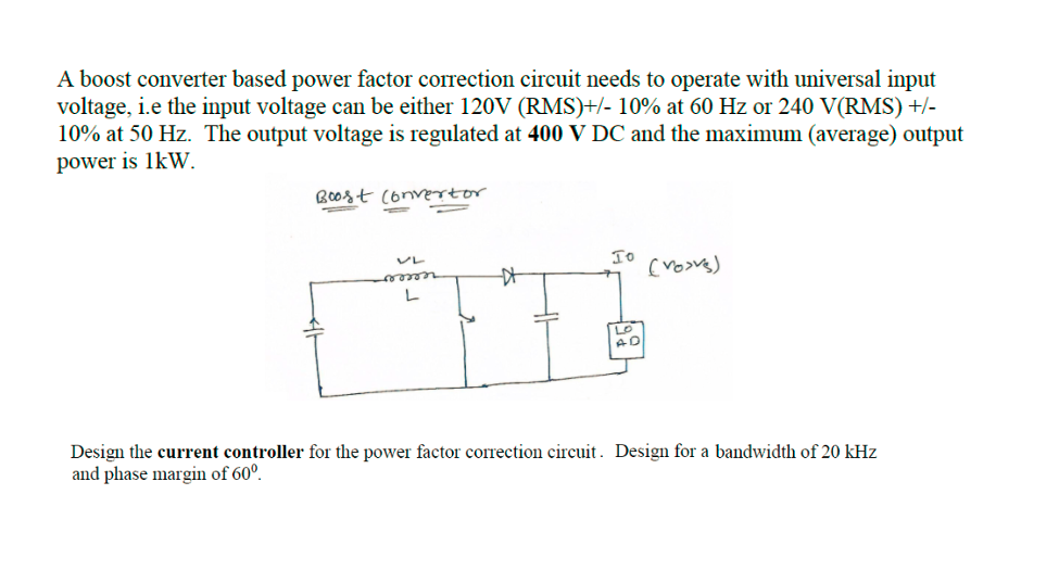 solved a boost converter based power factor correction ci power factor formula boost pfc converter circuit improves