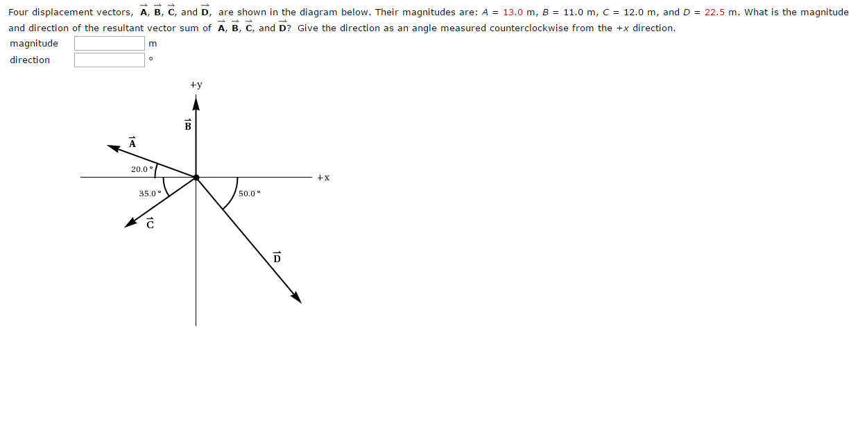 Solved  Four Displacement Vectors  A B C  And D  Are Shown