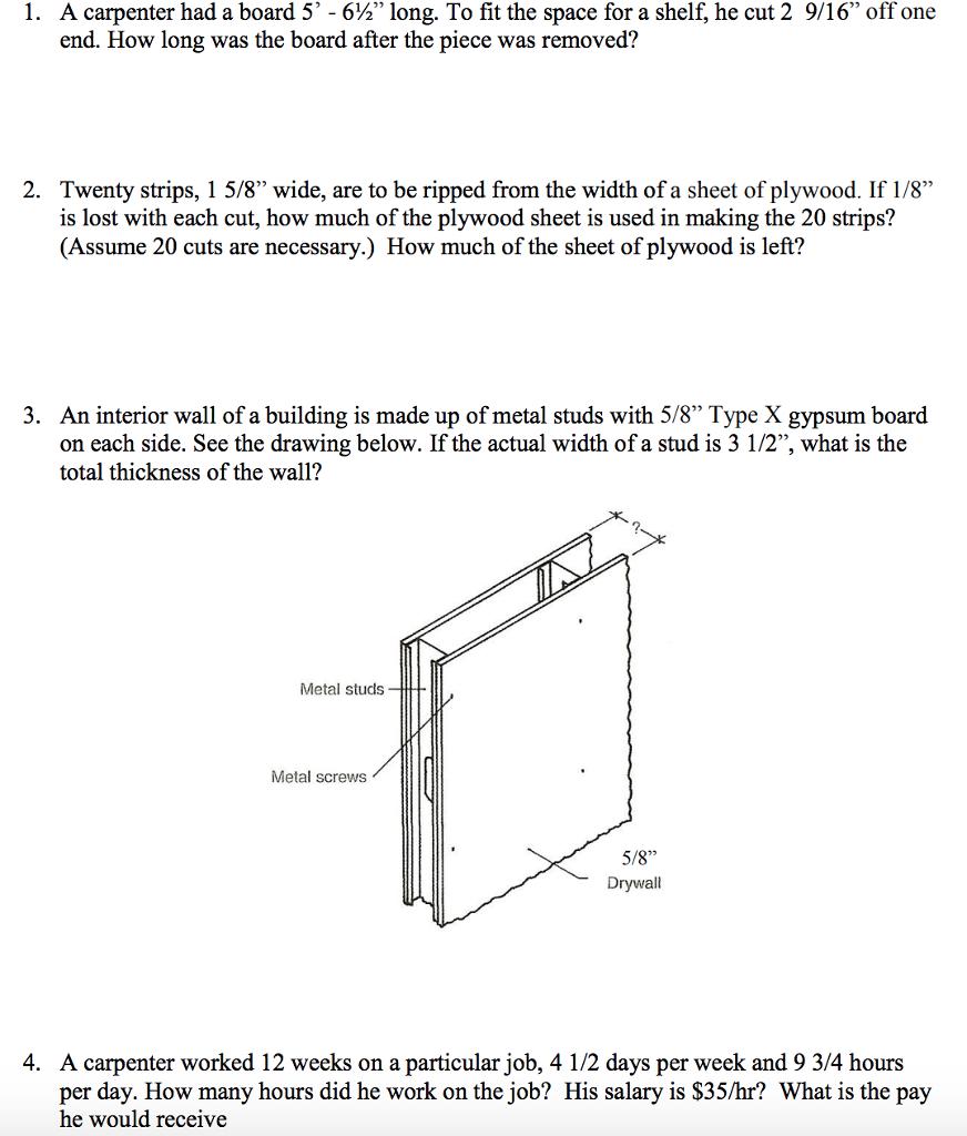 Solved: A Carpenter Had A Board 5,-6%