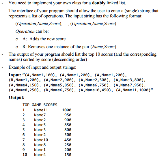 Solved: Write A Java Class That Maintains The Top Ten Scor ...