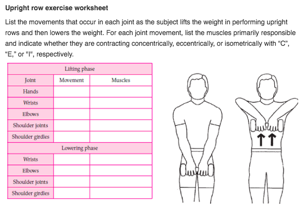 Solved: Upright Row Exercise Worksheet List The Movements ...