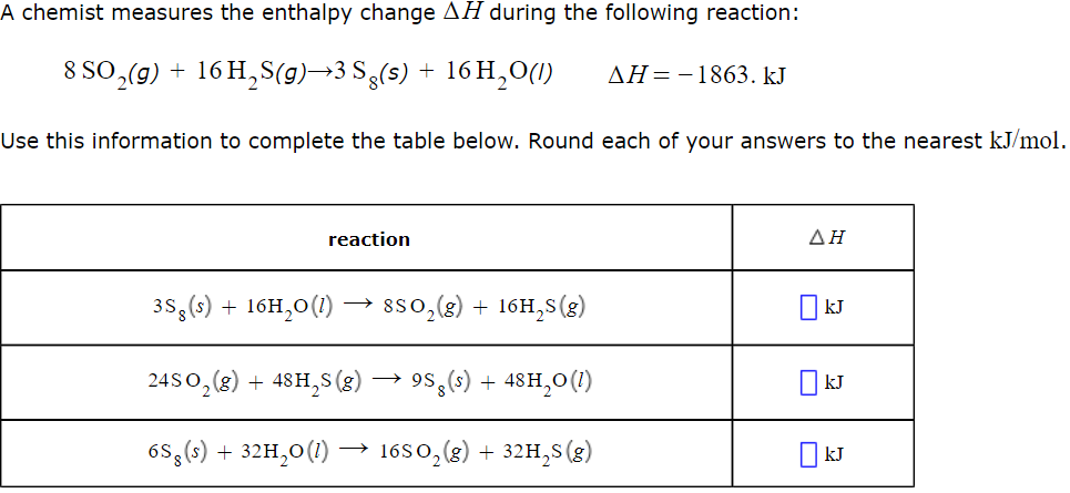 Solved: A Chemist Measures The Enthalpy Change ?? During T ...