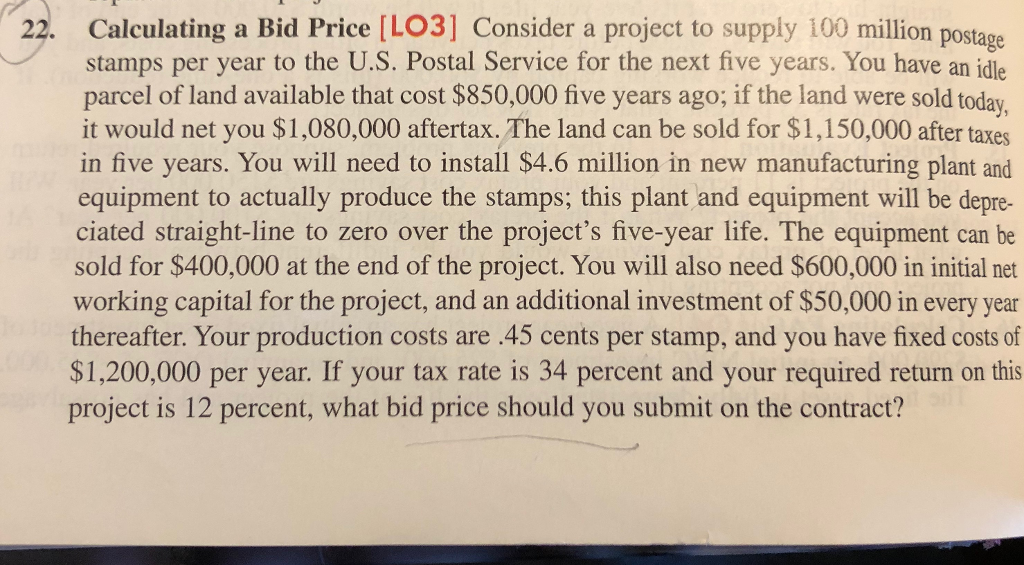 Calculating A Bid Price Lo3 Consider A Project T