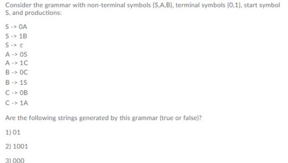Solved Consider The Grammar With Non Terminal Symbols S