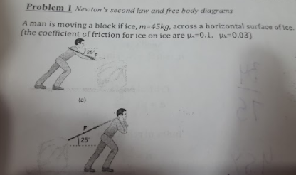 problem newtons second law and free body diagrams a man is moving a block  if ice
