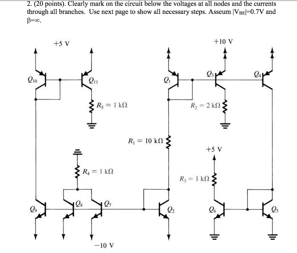2 20 Points Clearly Mark On The Circuit Below Voltages At